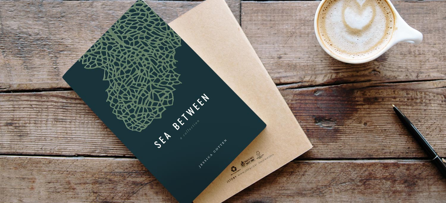 flatlay photo of Sea Between: poetry collection by indie author Jessica Cotten